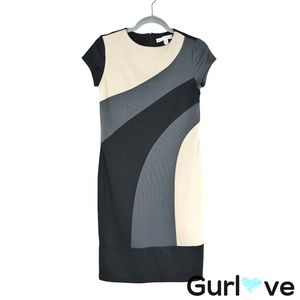 AA Studio AA Black Color Block Midi Dress Sz 8